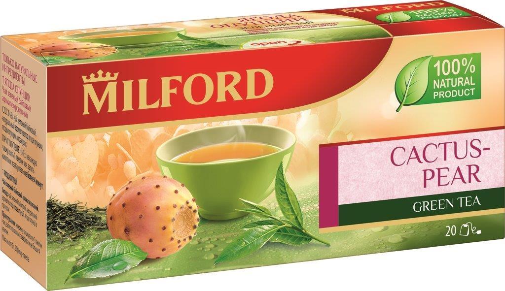 Milford Ягода опунции зеленый чай в пакетиках, 20 штбая024Milford Ягода опунции - это уникальная композиция из китайского зеленого чая и спелой ягоды кактуса опунции. Зеленый чай богат микроэлементами, витаминами, а ягоды опунции имеют приятный оригинальный вкус. Чашка зеленого чая Milford поможет вам обрести бодрость и силу духа.