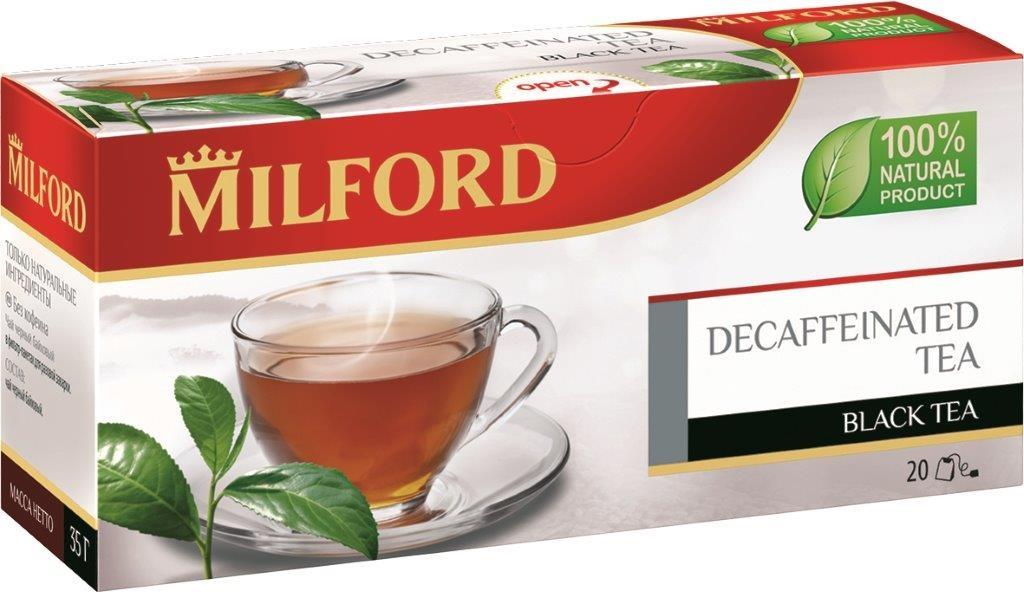 Milford черный чай без кофеина в пакетиках, 20 штбая463рMilford черный чай без кофеина - инновация чайного ассортимента, новое слово в черном чае. Это прекрасная альтернатива традиционному черному чаю для тех, кто отказался от кофеина. В чае сохранены вкус и аромат превосходного черного чая.