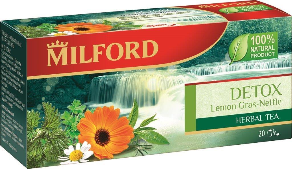 Milford Детокс травяной чай в пакетиках, 20 штбая486Травяной чай Milford Детокс изготовлен только из натуральных ингредиентов. Пряный аромат мяты и кориандра подчеркивает тонкий, терпкий вкус зеленого чая. Розмарин, цветки ромашки и календулы дополняют эту удивительную композицию.