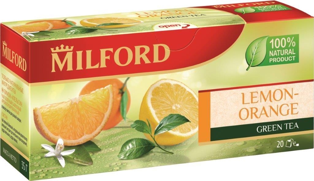 Milford Лимон-Апельсин зеленый чай в пакетиках, 20 штбая001рMilford Лимон-Апельсин - это зеленый байховый ароматизированный чай в пакетиках. Классическое и одновременно модное сочетание зеленого чая и цитрусовых ароматов сделает ваше чаепитие ярким и необыкновенным.