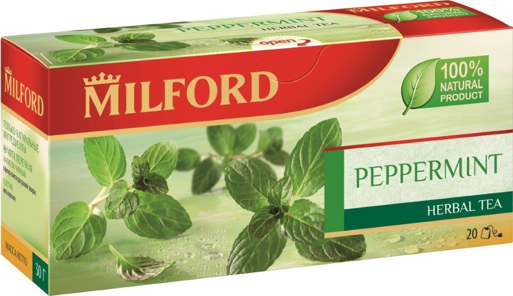 Milford Мята перечная травяной чай в пакетиках, 20 штбая107рТравяной чай Milford Мята перечная - это настоящее наслаждение с сильным и свежим ароматом. Листья мяты богаты эфирными маслами, в том числе ментолом. Согласно легенде, мята получила свое название в честь римской богини Менты, олицетворяющей разум и здравый смысл. Мята улучшает работу мысли, дарит спокойствие и безмятежность. Травяной чай Milford - 100% натуральный продукт. Не содержит кофеин.
