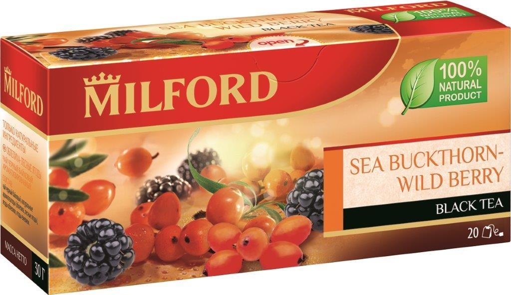 Milford Облепиха-Лесные ягоды черный чай в пакетиках, 20 штбая075рMilford Облепиха-Лесные ягоды - отличный купаж сортов черного чая, который прекрасно сочетается с сочными ягодами облепихи и ежевики. Приятная терпкость хорошего индийского чая, аромат облепихи и сладость лесной ежевики. Облепиха в сочетании с ароматными лесными ягодами придает чаю неповторимый чарующий вкус.
