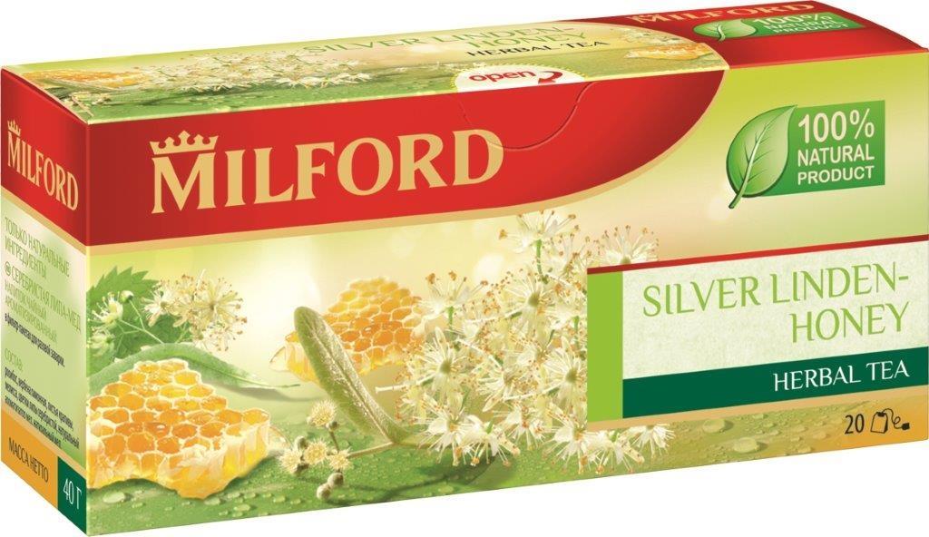 Milford Серебристая липа-Мед травяной чай в пакетиках, 20 штбая002рТравяной чай Milford Серебристая липа-Мед имеет изысканный вкус и в составе содержит только натуральные ингредиенты. Удивительно тонкий и нежный аромат липы прекрасно сочетается со вкусом меда. Пряные и свежие ароматы мелиссы и ройбоса гармонично дополняют композицию.
