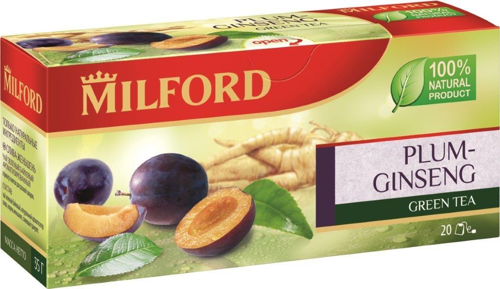 Milford Слива-Женьшень зеленый чай в пакетиках, 20 штбая025рMilford Слива-Женьшень - уникальная композиция из китайского зеленого чая, ароматной спелой сливы и корня женьшеня. Тысячелетиями проверено благотворное действие женьшеня на организм человека. Чудесная композиция зеленого чая и спелой сочной сливы с корнем женьшеня никого не оставит равнодушным.