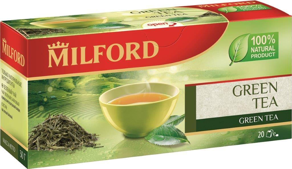 Milford чай зелёный в пакетиках, 20 шт