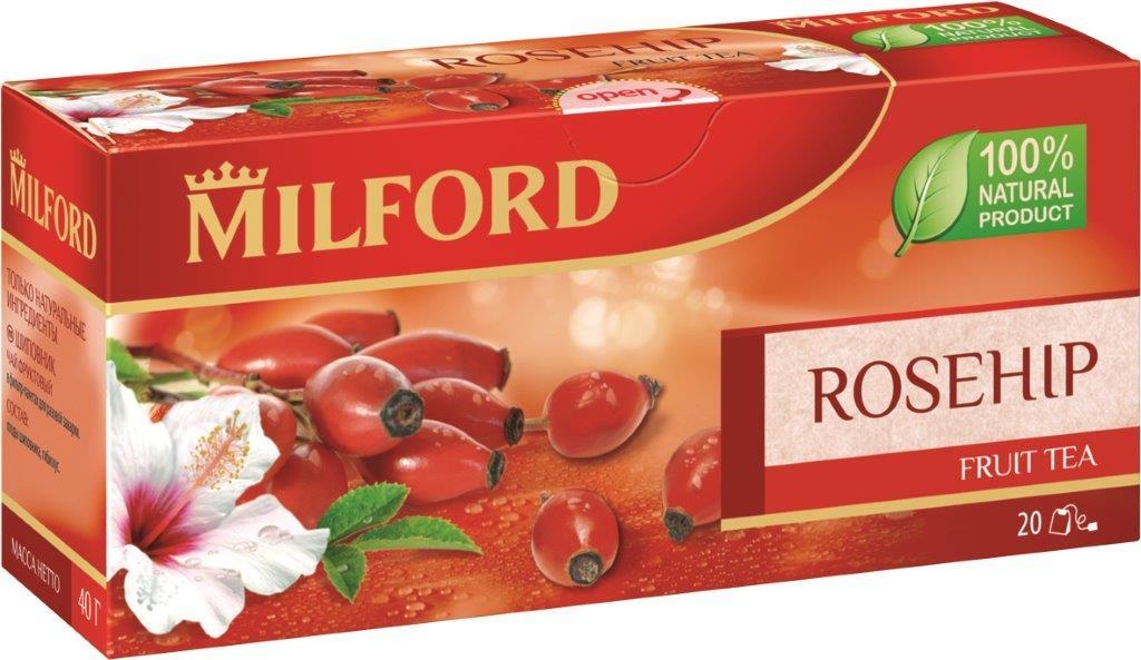 Milford Шиповник фруктовый чай в пакетиках, 20 штбая123рФруктовый чай Milford Шиповник - это освежающая композиция из шиповника и гибискуса. Плоды шиповника издавна ценятся за высокое содержание витамина С и приятный кисловатый вкус. Употребление шиповника усиливает иммунитет, улучшает обмен веществ. Это очень полезный, тонизирующий и вкусный напиток. Чай Milford не содержит ароматизаторы и красители. Обладает прекрасными вкусовыми качествами в горячем и холодном виде.