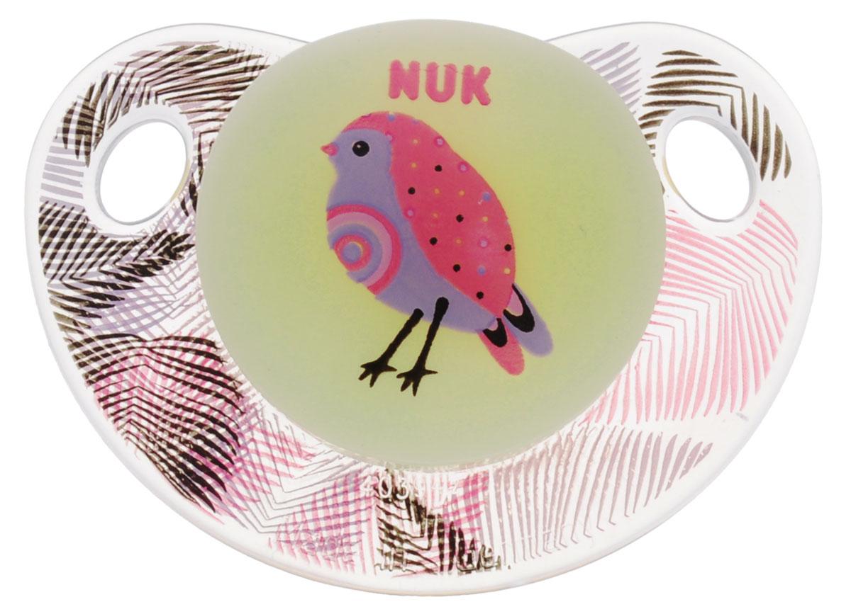 NUK Пустышка латексная для сна Птичка ортодонтическая от 0 до 6 месяцев