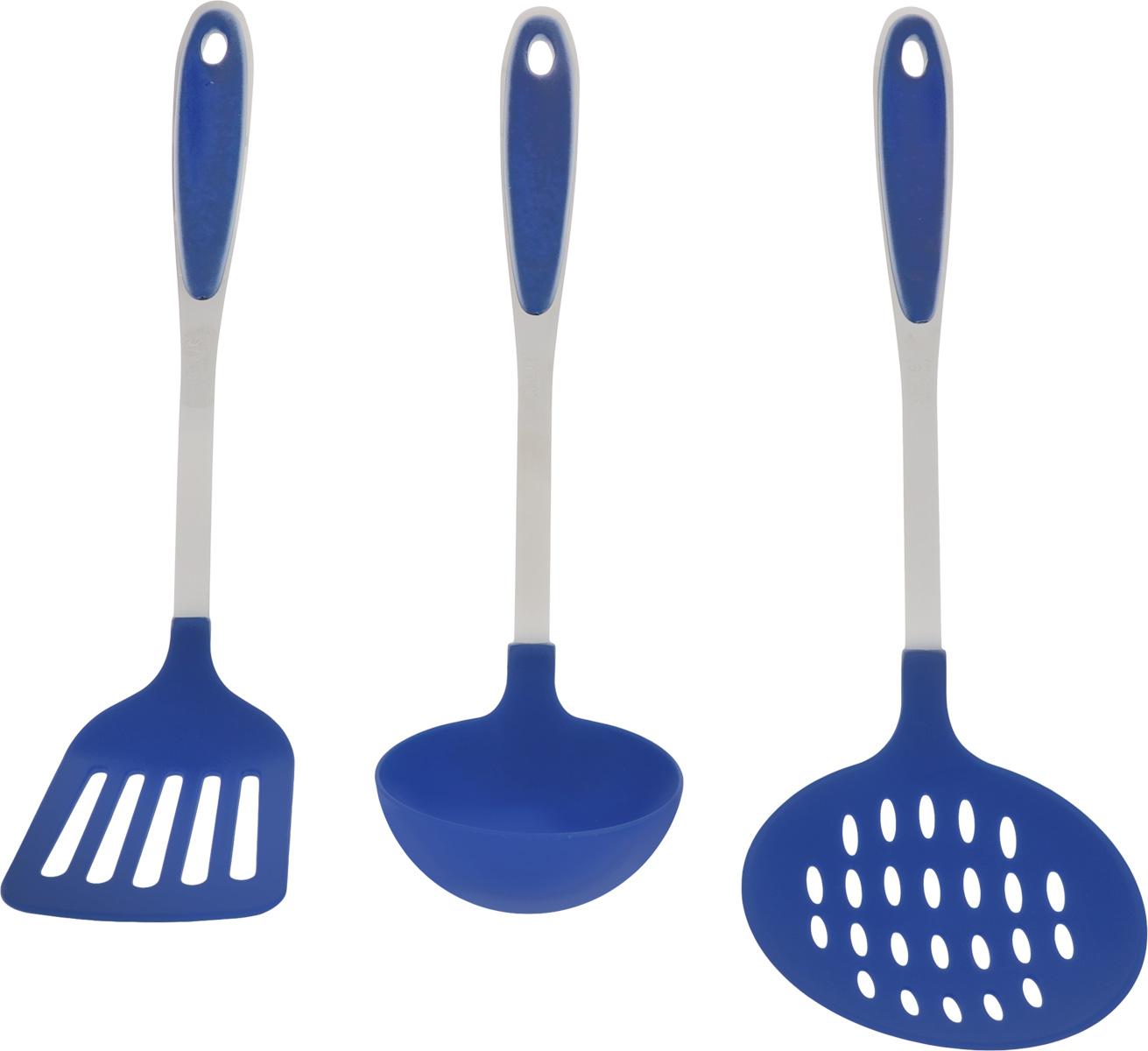 Набор кухонных принадлежностей Calve, цвет: синий, 3 предметаCL-1362_синийНабор кухонных принадлежностей Calve состоит из шумовки, лопатки и половника, выполненных из нейлона. Изделия из этого материала идеально подходят для посуды с тефлоновым и керамическим антипригарным покрытием. В ручках имеются специальные отверстия для удобного подвешивания. Этот профессиональный набор очень удобен в использовании. Он займет достойное место среди кухонного инвентаря. Размер рабочей поверхности шумовки: 11 х 11 см. Длина шумовки: 35 см. Размер рабочей поверхности лопатки: 10 х 8 см. Длина лопатки: 33 см. Размер рабочей поверхности половника: 9 х 9 х 3,5 см. Длина половника: 30 см.