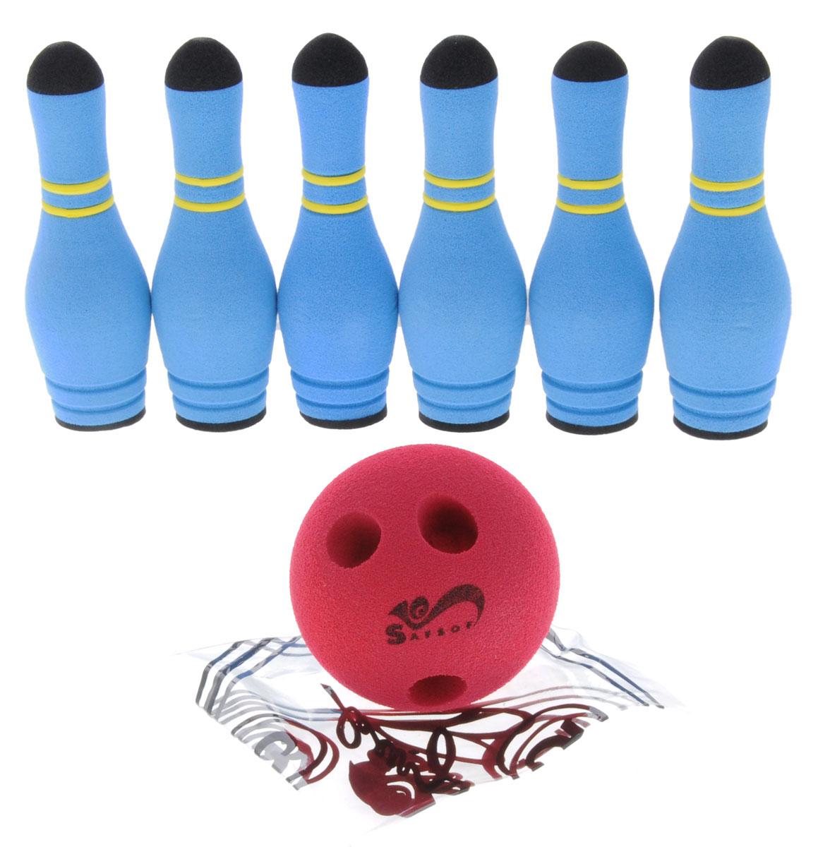 Safsof Игровой набор Мини-боулинг цвет голубой красныйMBB-05(B)_голубой,красныйИгровой набор Safsof Мини-боулинг, изготовленный из вспененной резины, состоит из шести кеглей и шара. Набор выполнен из мягкого материала, что обеспечивает безопасность ребенку. Суть игры в боулинг - сбить шаром максимальное количество кеглей. Число игроков и количество туров - произвольное. Очки, набранные с каждым броском мяча, рассматриваются как количество сбитых кегель. Расстояние, с которого совершается бросок, определяется игроками. Каждый игрок имеет право на два броска в одной рамке (рамка - треугольник, на поле которого выстраиваются кегли перед каждым первым броском очередного игрока). Бросок, при котором все кегли сбиты, называется страйк и обозначается как Х. Если все кегли сбиты первым броском, второй бросок не требуется: рамка считается закрытой. Призовые очки за страйк - это сумма кеглей, сбитых игроком следующими двумя бросками. Выигрывает тот игрок, который в сумме набирает больше очков.