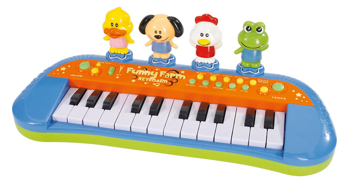 Simba Пианино Веселая ферма4012799Детское пианино Веселая ферма, выполненное из прочного пластика в виде синтезатора, привлечет внимание вашего ребенка и доставит ему много удовольствия от часов, посвященных игре с ним. На панели игрушки расположены 24 клавиши черного и белого цветов и множество кнопок, которые позволяют добавлять различные звуковые эффекты при составлении мелодий. На крышке игрушки есть четыре кнопки-фигурки с животными. Нажав на фигурки, малыш услышит звуки, характерные для этого животного. На пианино можно составить множество собственных мелодий. Громкость игрушки можно регулировать. С помощью этого пианино ребенок сможет развить свои музыкальные способности и порадовать друзей и близких великолепным концертом. Порадуйте его таким великолепным подарком! Для работы требуются 3 батарейки АА (комплектуется демонстрационными).