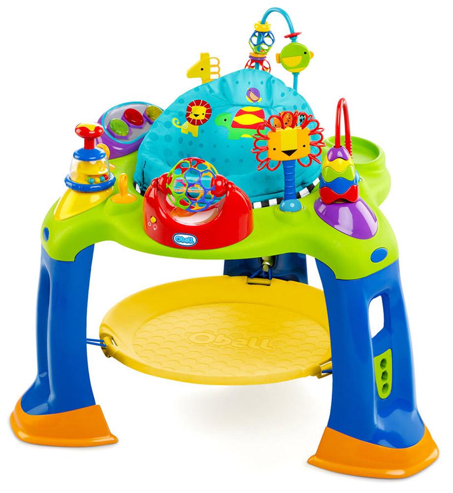 Oball Игровой развивающий центр Разноцветный мир60265Игровой развивающий центр Oball Разноцветный мир - великолепный красочный игровой центр, который растет вместе с ребенком. Маленьким ручкам малыша тут предоставлен действительно большой простор для деятельности. Ведь вся игровая панель просто окружена разнообразными игрушками. Тут есть две дуги с пирамидкой, трещоткой, кольцами и мячиками с отверстиями. На игровой панели располагается также и пианино с тремя светящимися клавишами, тремя звуковыми режимами и регулировкой громкости. При вращении гремящего мячика с отверстиями, который можно сжимать, также активируются световые эффекты. А благодаря вращающемуся сиденью кроха сможет менять свое положение и поворачиваться, куда захочется. Но и это еще не все. Ведь ножки малыша опираются на батутик, на котором можно весело попрыгать под музыку и потренировать мышцы ног. Игровой центр Разноцветный мир станет захватывающим миром для вашего малыша и настоящей находкой в качестве превосходного развивающего подарка! Центр...