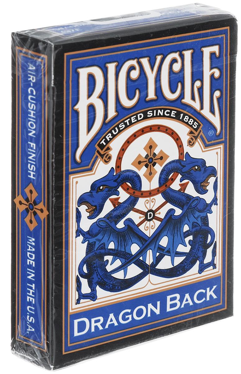 Карты игральные Bicycle Dragon Back, цвет: синий, 54 картыК-162Игральные карты Bicycle Dragon Back стандартного размера выполнены из многослойного картона с пластиковым покрытием и превосходно подойдут как для игры, так и для личной коллекции. Игральные карты Bicycle Dragon Back - это лимитированное издание уникальной колоды, которая имеет сложный дизайн рубашки с зеркальным изображением дракона. Винтажные карты Bicycle Dragon Back, с вниманием к деталям и ярким цветам, представляют колоду поистине уникальной и единственной в своем роде.