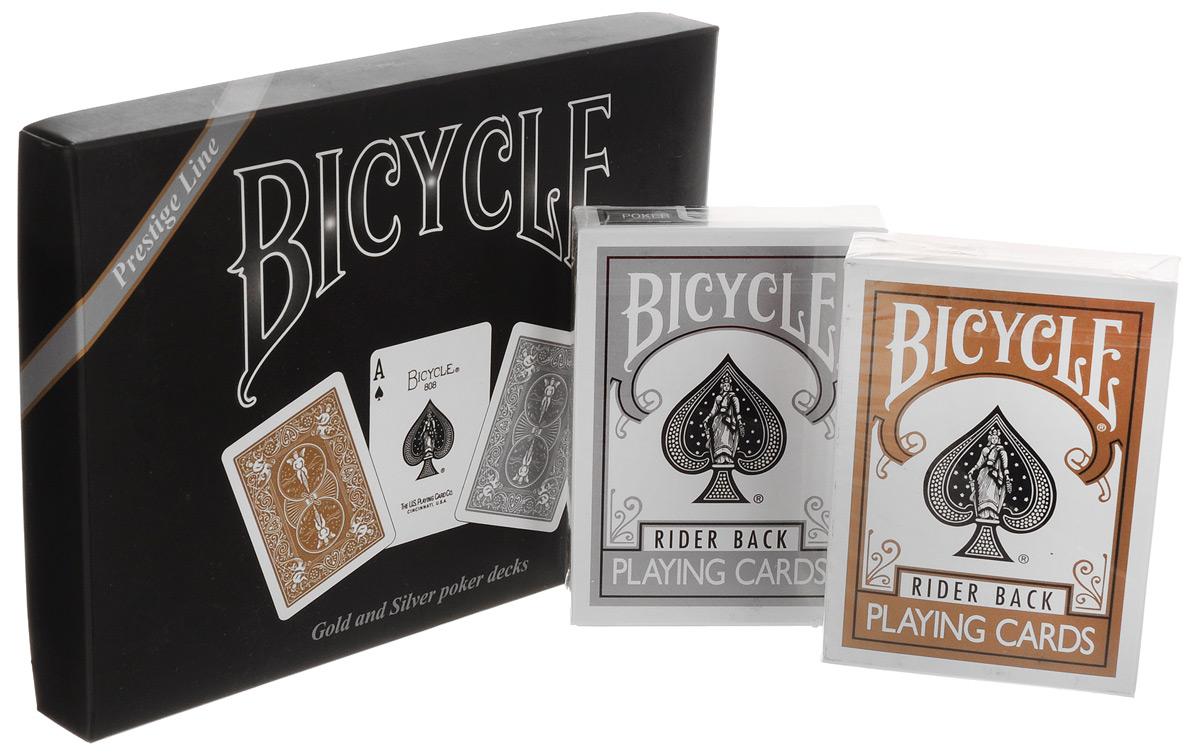 Карты игральные Bicycle Rider Back, 2 колодыК-062Набор Bicycle Rider Back состоит из 2 колод по 54 карты. Игральные карты Bicycle Rider Back стандартного размера выполнены из многослойного картона с пластиковым покрытием. Игральные карты Bicycle Rider Back - это одни из самых известных карт в мире. Дизайн рубашки легко узнаваем. Эти карты отлично зарекомендовали себя как для игр, так и для исполнения фокусов, флоришей и карточных трюков.