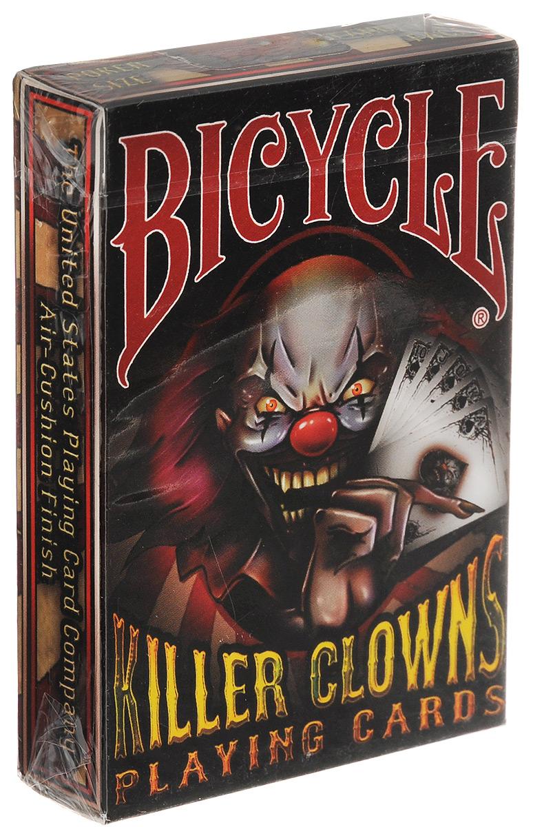 Карты игральные Bicycle Killer Clowns, 55 картК-395Игральные карты Bicycle Killer Clowns стандартного размера выполнены из многослойного картона с пластиковым покрытием и превосходно подойдут как для игры, так и для личной коллекции. Игральные карты Bicycle Killer Clowns - это одна из самых страшных колод на рынке, каждая карта которой тщательно прорисована до мельчайших деталей. Уникальные весельчаки украшают каждую старшую карту и джокеров.