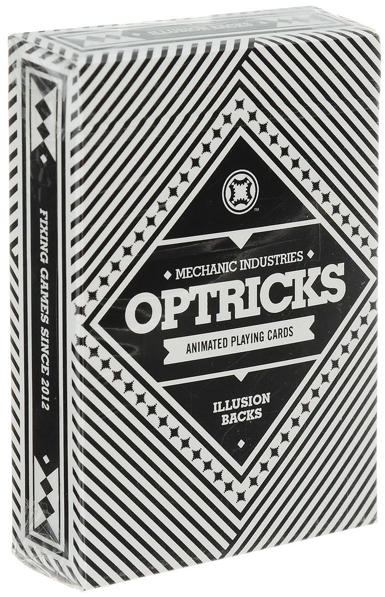 Карты игральные Mechanic Industries Optricks, 56 картК-576Игральные карты Mechanic Industries Optricks стандартного размера выполнены из многослойного картона с пластиковым покрытием и превосходно подойдут как для игры, так и для фокусов. Колода нарисована в черно-белом цвете, рубашка состоит из простых геометрических линий, что придает ей внешнюю простоту и изящество. Однако если начать пролистывать карты, то рубашки начнут перемешиваться, словно анимация. В колоде Mechanic Industries Optricks присутствуют: - 52 карты 4 мастей, - два дизайнерских джокера с изображением монетки Grinder, - дополнительный гафф-джокер, с изображением монетки, которая как бы начинает сползать с карты, - карта с пустым лицом. Благодаря удивительной оптической флипбук анимации колода Mechanic Industries Optricks может похвастаться совершенно новой функцией. Дизайнеры заложили в анимации самую популярную форсированную карту - 7 червей. Так что теперь у вас есть совершенно новый способ показать...