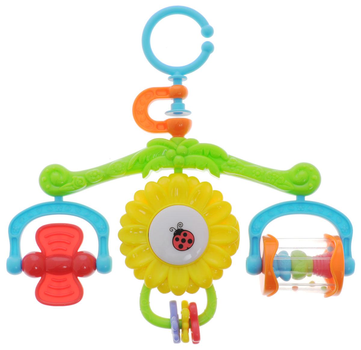 Playgo Музыкальный мобиль СолнышкоPlay 2199Малыш с самого появления начинает усваивать звуки, запахи, формы. Поэтому начинать развитие ребенка необходимо с самого рождения. Для этой цели отлично подойдет музыкальный мобиль Playgo Солнышко. С помощью игрушки ребенок будет учиться концентрировать свой взгляд на движущихся объектах, различать формы и цвета, а также пытаться тянуть ручки к движущимся игрушкам. Подсолнух в центре мигает огоньками, благодаря чему малыш не будет бояться темноты. Мелодии, которые воспроизводит мобиль, помогут ребенку быстрее заснуть. Крепить мобиль нужно на купол коляски таким образом, чтобы расстояние от глаз малыша до игрушек не превышало 30 сантиметров, и чтобы игрушки крутились над грудью ребенка для удобной фокусировки зрения. Необходимо купить 3 батарейки напряжением 1,5V типа ААА (не входят в комплект).