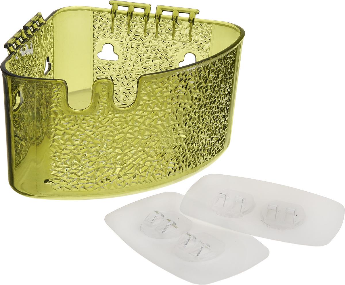 Полка угловая Fresh Code, на липкой основе, цвет: зеленый, 18,5 х 14 х 10 см64944_зеленыйУгловая полка Fresh Code для ванной комнаты выполнена из цветного пластика. Она пригодится для хранения различных принадлежностей, которые всегда будут под рукой. Крепление на липкой основе многократного использования идеально подходит для гладкой поверхности. Такая полка поможет создать прекрасное настроение ванной комнаты. Благодаря компактным размерам полка впишется в интерьер вашего дома и позволит удобно хранить предметы домашнего обихода. Максимальная нагрузка 3 кг.