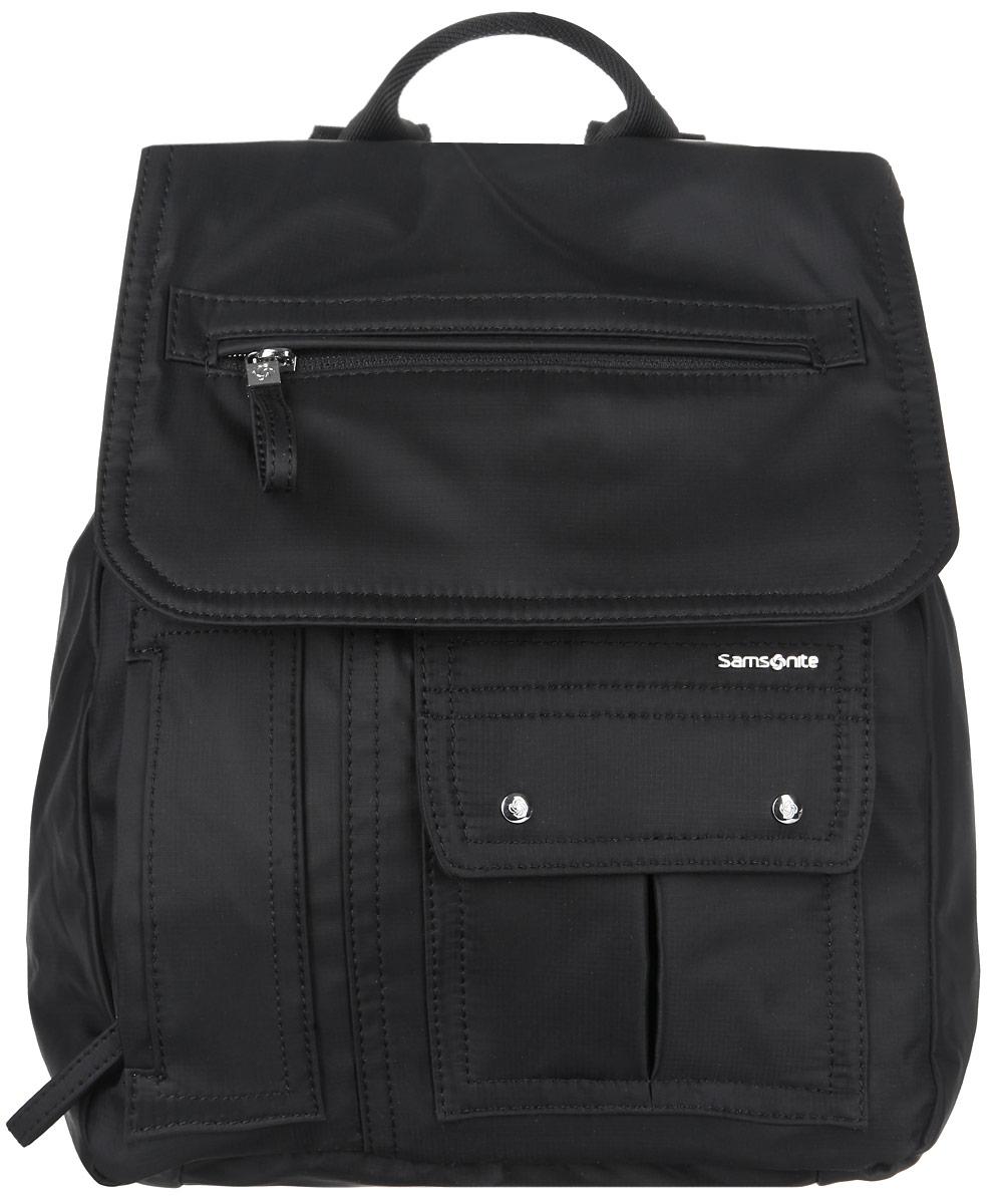 Рюкзак женский Samsonite, цвет: черный. 96V-0901596V-09015Стильный женский рюкзак Samsonite выполнен из полиамида, оформлен металлической фурнитурой и символикой бренда. Изделие содержит одно отделение, закрывающееся клапаном на магнит и дополнительно затягивающийся шнурок. Внутри рюкзака расположены два накладных кармашка и врезной карман на застежке-молнии. Задняя сторона изделия дополнена потайным карманом на застежке-молнии. В клапане расположен врезной карман на застежке-молнии. На лицевой стороне рюкзака расположены накладной карман, закрывающийся при помощи клапана с магнитами, и потайной кармашек на застежке-молнии. Изделие оснащено двумя широкими плечевыми лямками регулируемой длины и петлей для подвешивания. Практичный аксессуар позволит вам завершить образ и быть неотразимой.