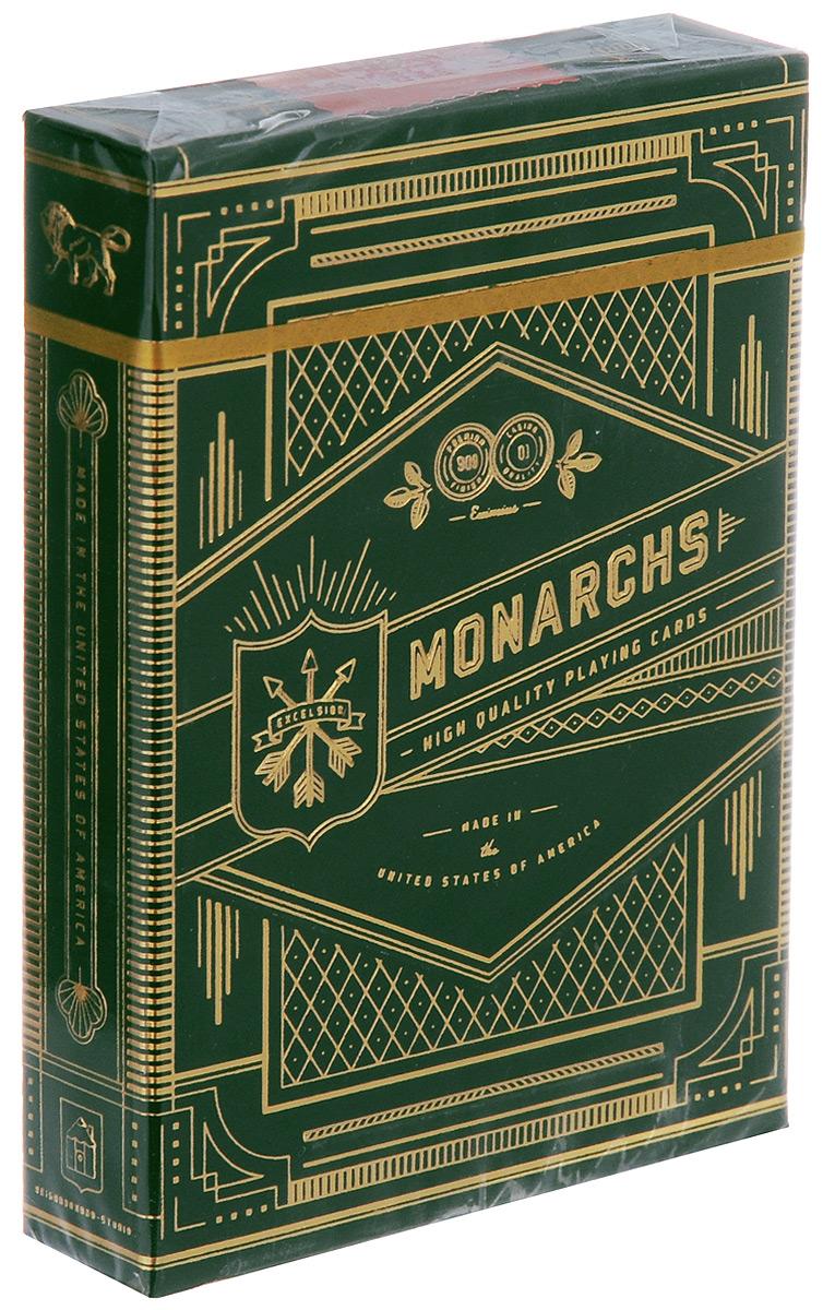 Карты игральные Theory11 Monarchs, цвет: зеленый, 55 картК-568Игральные карты Theory11 Monarchs стандартного размера выполнены на бумаге Q1 с ультра-тонкими краями с пластиковым покрытием и превосходно подойдут как для игры, так и для личной коллекции. Предлагаем вашему вниманию новое издание знаменитой колоды Theory11 Monarchs. Изменения затронули цвет колоды и упаковку, в производстве которой была использована матовая шелковая бумага высочайшего качества, прекрасная на ощупь и цвет.