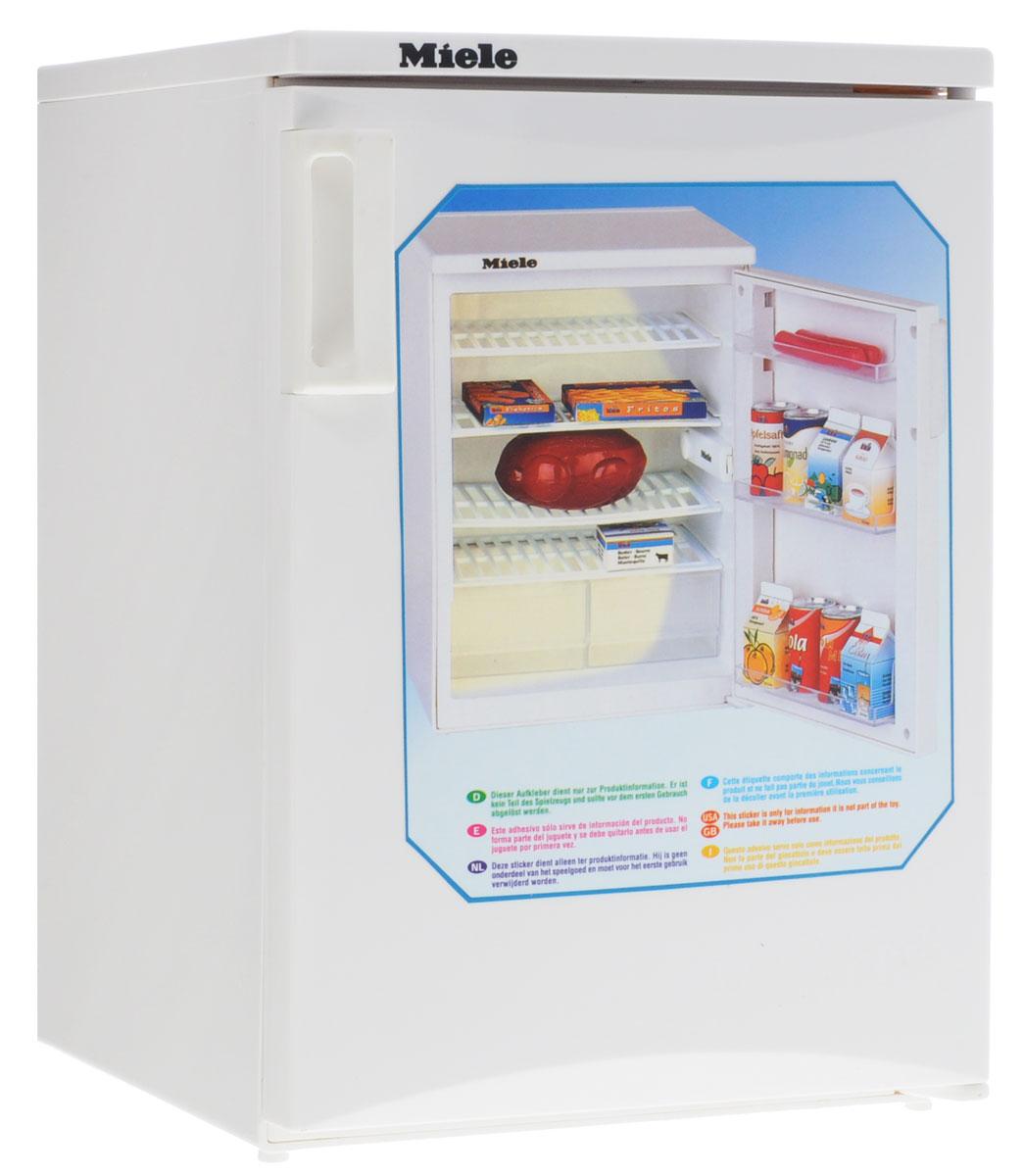Klein Игрушечный холодильник Miele9462Игрушечный холодильник Klein Miele - точная игрушечная копия холодильника. При открывании дверцы холодильника внутри включается подсветка и начинает работать вентилятор. Внутри у холодильника 4 полки и два выдвижных ящика для продуктов, на дверце - 3 прозрачные полки. Дверца холодильника легко открывается за ручку. В комплекте игрушечные упаковки для рыбных палочек, картошки фри, масла, какао, сметаны, йогурта и апельсинового сока. Также есть баночки с лимонадом, курица гриль две сосиски. Необходимо купить 3 батарейки напряжением 1,5V типа АА (не входят в комплект).