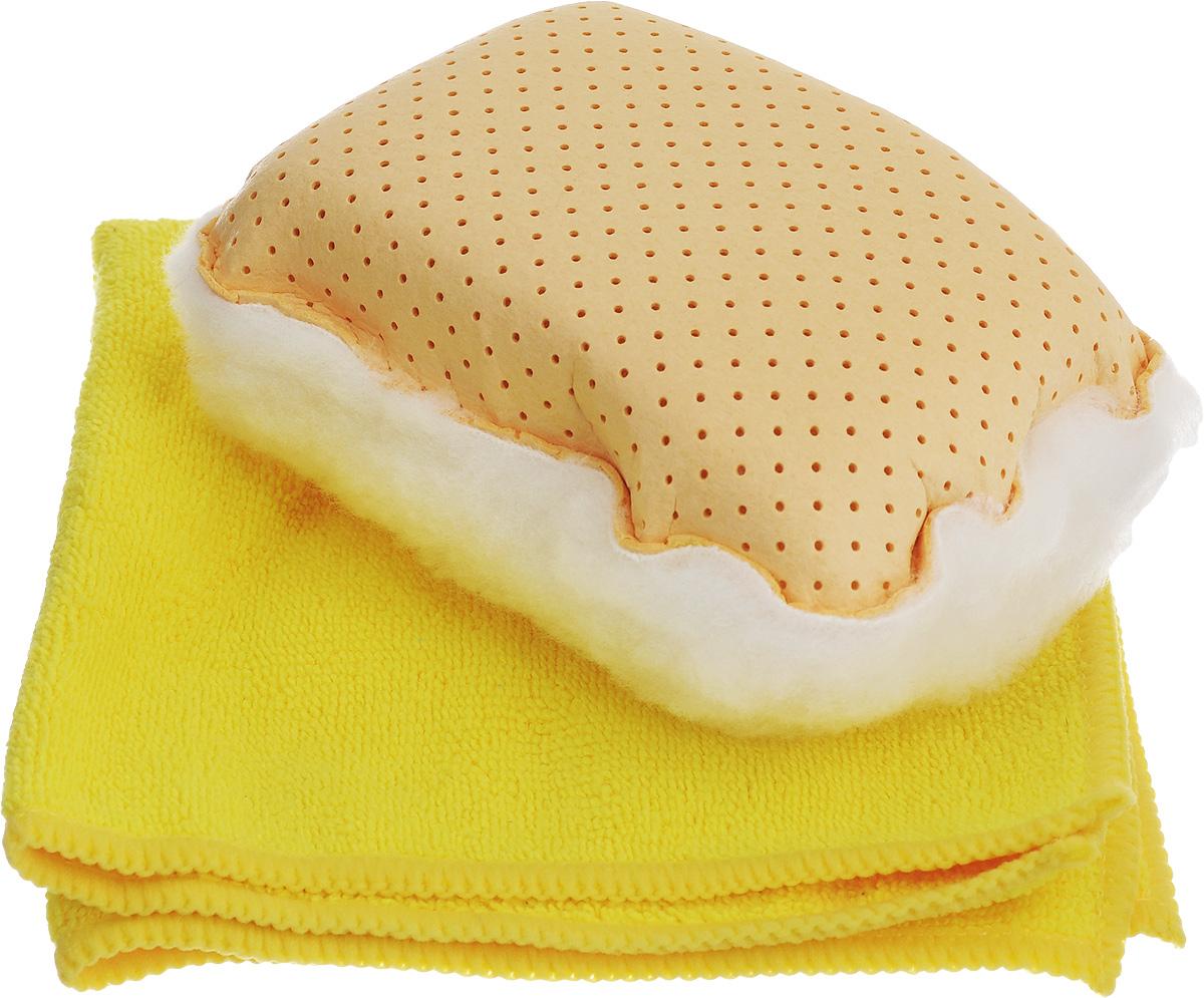 Набор для мытья и полировки автомобиля Pingo, цвет: желтый, 2 предмета5820_желтыйНабор для мытья и полировки автомобиля Pingo состоит из универсальной губки с мехом и салфетки из микрофибры. Универсальная губка с мехом предназначена для удаления влаги или конденсации с запотевших стекол. Меховая сторона губки может применяться для нанесения полироли на кузов автомобиля. Салфетка из микрофибры предназначена для полировки кузова автомобиля, для чистки лобового стекла, пластика и хрома. Может быть использована без химических средств, отлично впитывает воду, пыль и грязь. Сильно загрязненную салфетку промыть в теплой воде. При стирке не использовать отбеливатель и смягчающие средства, не гладить. Состав губки: 80% вискоза, 20% полипропилен, мех, полиэстер, пенополиуретан. Состав салфетки: 70% полиэстер, 30% полиамид. Размер губки: 13 х 9 х 5 см. Размер салфетки: 32 х 32 см.