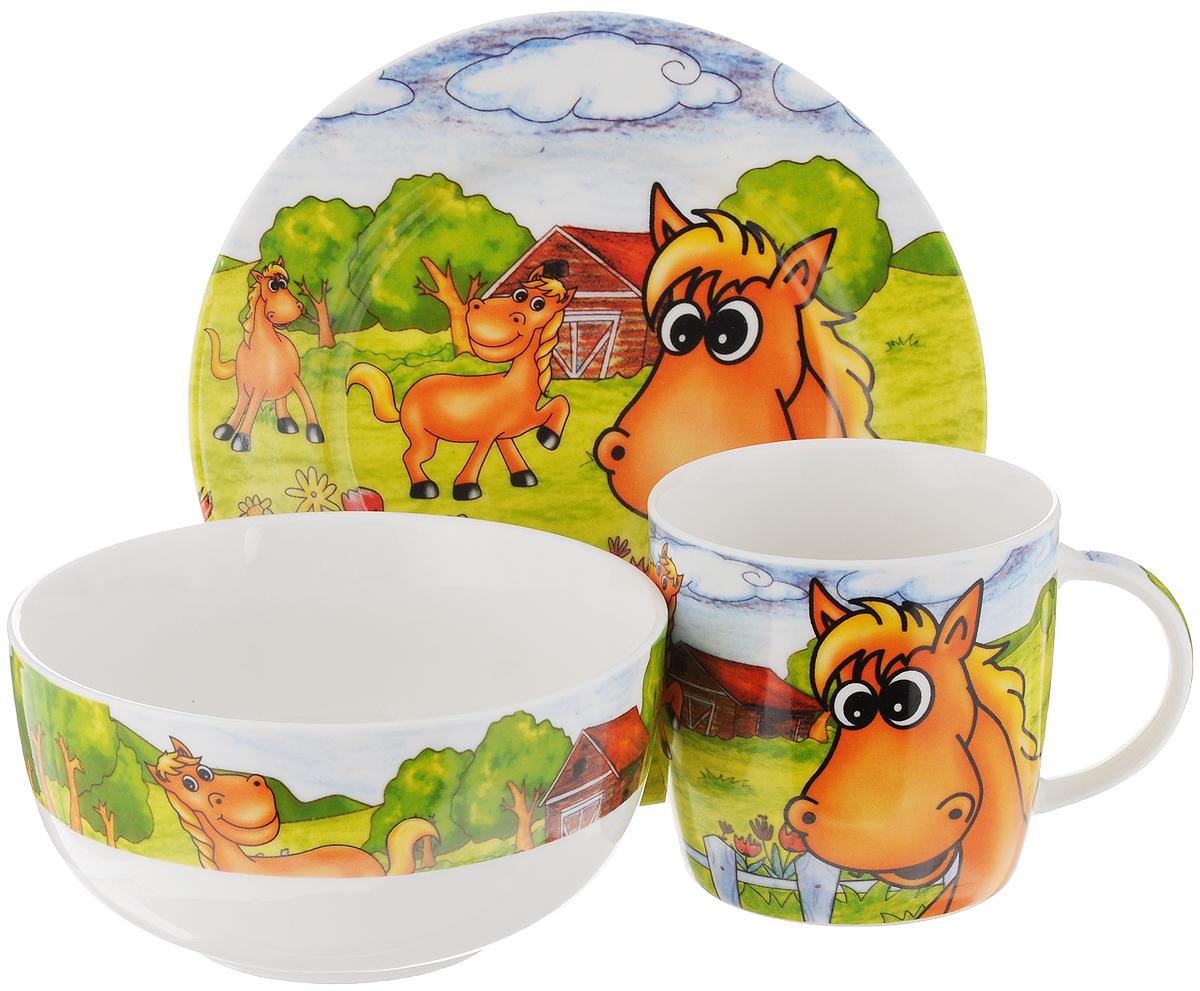 Набор детской посуды Elan Gallery Лошадки на лугу, 3 предмета290136Набор детской посуды Elan Gallery Лошадки на лугу, выполненный из высококачественной керамики, состоит из кружки, десертной тарелки и миски. Материалы изделий нетоксичны и безопасны для детского здоровья. Изделия оформлены ярким изображением. Детская посуда удобна и увлекательна для вашего малыша. Привычная еда станет более вкусной и приятной, если процесс кормления сопровождать игрой и сказками. Красочная посуда является залогом хорошего настроения и аппетита ваших детей, а также станет желанным подарком. Диаметр десертной тарелки: 17 см. Высота десертной тарелки: 2 см. Объем миски: 500 мл. Диаметр миски: 13 см. Высота миски: 6,5 см. Объем кружки: 250 мл. Диаметр кружки (по верхнему краю): 8,2 см. Высота кружки: 8 см.
