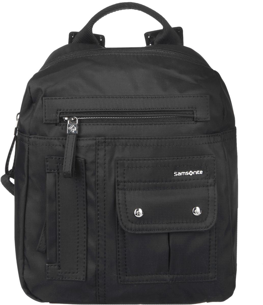 Рюкзак женский Samsonite, цвет: черный. 96V-0901496V-09014Стильный женский рюкзак Samsonite выполнен из полиамида, оформлен металлической фурнитурой c символикой бренда. Изделие содержит одно отделение, закрывающееся на застежку-молнию. Внутри рюкзака расположены два накладных кармашка и врезной карман на застежке-молнии. На лицевой стороне рюкзака расположены: накладной карман, закрывающийся клапаном на магниты, врезной кармашек на застежке-молнии и потайной кармашек на молнии. Задняя сторона изделия дополнена вместительным накладным карманом на застежке-липучке. Изделие оснащено двумя широкими плечевыми лямками регулируемой длины и петлей для подвешивания. Практичный аксессуар позволит вам завершить образ и быть неотразимой.