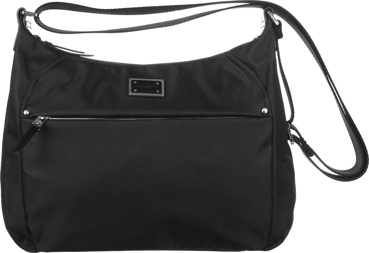 Сумка женская Samsonite, цвет: черный. 22D-0901422D-09014Стильная женская сумка Samsonite выполнена из полиэстера и полиамида, оформлена металлической фурнитурой с символикой бренда. Изделие содержит одно основное отделение, закрывающееся на застежку-молнию. Внутри сумки расположены два накладных кармашка для мелочей и врезной карман на застежке-молнии. Задняя сторона сумки дополнена накладным карманом на магнитной застежке. На лицевой стороне расположен потайной кармашек на молнии. Изделие оснащено практичным плечевым ремнем регулируемой длины. Оригинальный аксессуар позволит вам завершить образ и быть неотразимой.