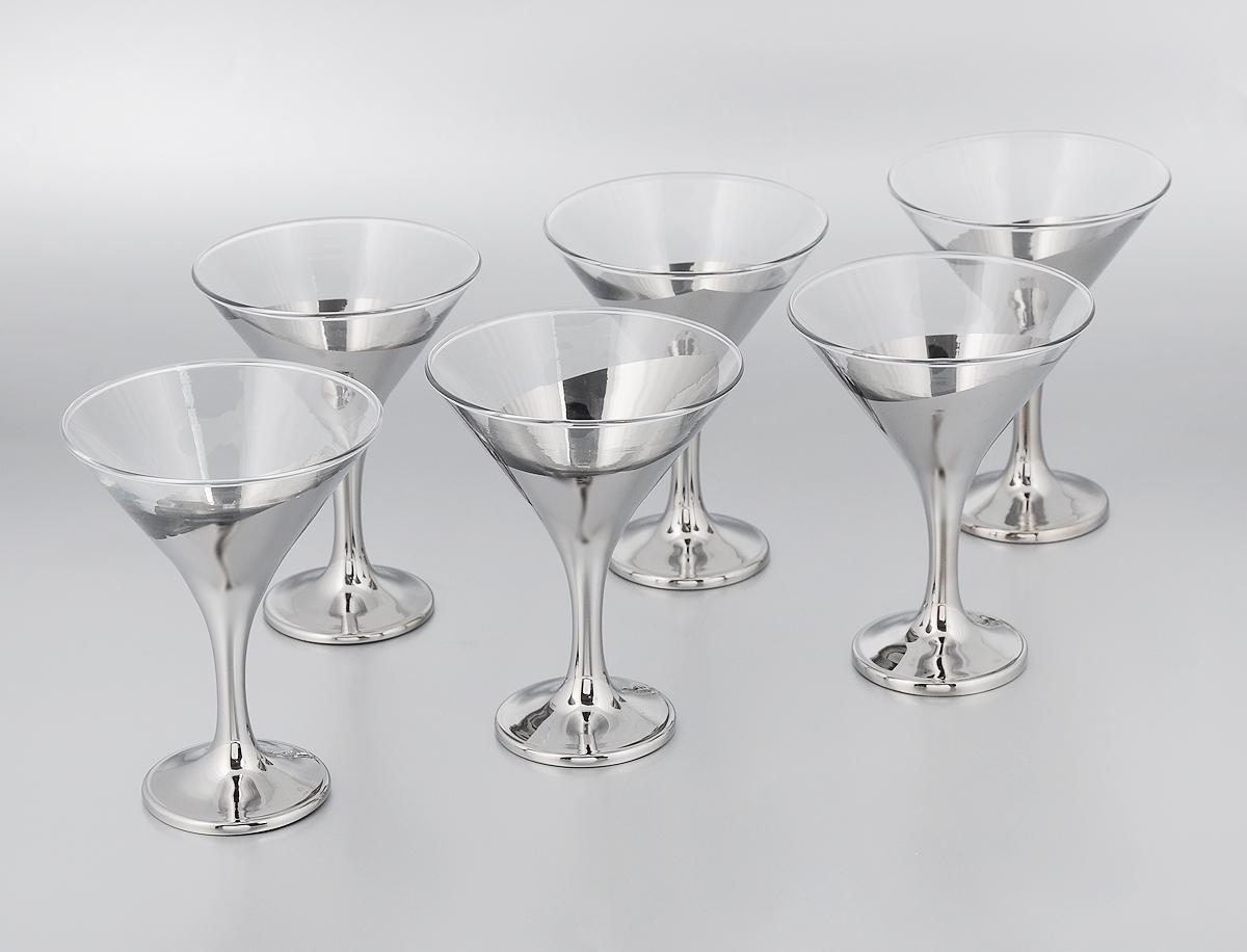 Набор бокалов для мартини Гусь-Хрустальный Серебряный галстук, 170 мл, 6 штS44-410Набор Гусь-Хрустальный Серебряный галстук состоит из 6 бокалов на длинных ножках, изготовленных из высококачественного натрий-кальций-силикатного стекла. Изделия, оформленные красивым зеркальным покрытием, предназначены для подачи мартини. Такой набор прекрасно дополнит праздничный стол и станет желанным подарком в любом доме. Разрешается мыть в посудомоечной машине или вручную с использованием моющих средств, не содержащих абразивных материалов. Диаметр бокала (по верхнему краю): 10,5 см. Высота бокала: 13,7 см. Диаметр основания бокала: 6,3 см.