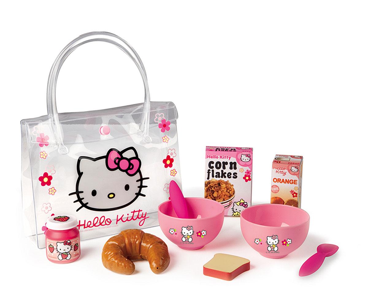 Smoby Набор для завтрака Hello Kitty24353С набором для завтрака Hello Kitty, состоящим из девяти предметов, ваша малышка сможет накормить свои любимые игрушки. Все элементы набора, изготовленные из пластика и картона, представляют собой уменьшенные копии настоящей кухонной посуды и продуктов. В наборе есть 2 мисочки с ложками, круассан, тост, пачка кукурузных хлопьев, апельсиновый сок в пачке и баночка с джемом. Теперь любимые игрушки вашего ребенка будут сыты и довольны. Посуда украшена изображениями любимой девичьей героини кошечки Kitty. Набор упакован в пластиковую сумочку с двумя ручками. Стильная прозрачная сумочка содержит одно отделение и закрывается на клапан с кнопкой. Посуда проста в уходе, легко моется, подойдет для игр дома и на улице.