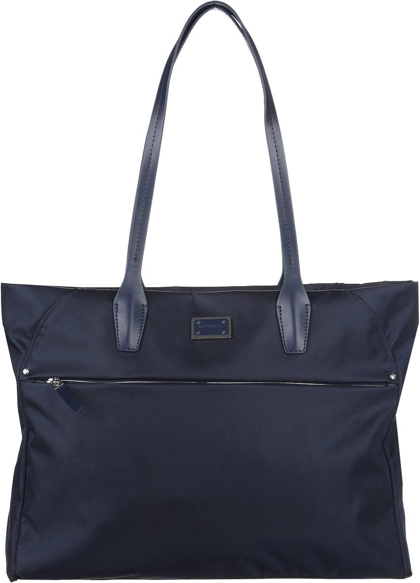 Сумка женская Samsonite, цвет: синий. 22D-0101622D-01016Стильная женская сумка Samsonite выполнена из полиамида и полиуретана, оформлена металлической фурнитурой с символикой бренда. Изделие содержит одно отделение, которое закрывается на застежку-молнию. Внутри сумки расположены два накладных кармашка для мелочей, врезной карман на застежке-молнии и мягкий карман для планшета. Задняя сторона сумки дополнена накладным карманом с магнитной застежкой. На лицевой стороне сумки расположен потайной карман на застежке-молнии. Изделие оснащено двумя удобными ручками, позволяющими носить изделие, как в руках, так и на плече. Практичный аксессуар позволит вам завершить образ и быть неотразимой.