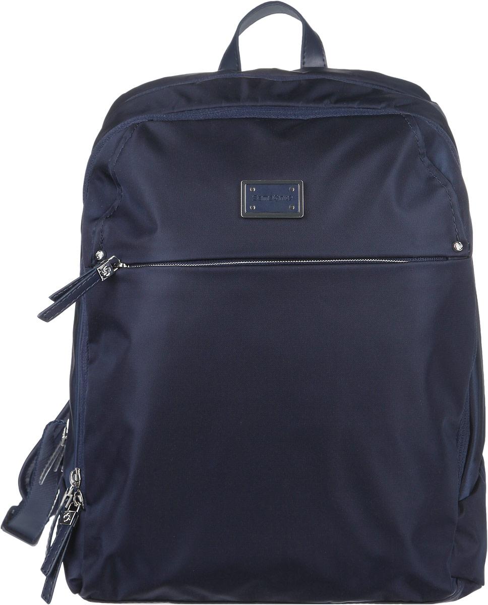 Рюкзак женский Samsonite, цвет: синий. 22D-0101122D-01011Стильный женский рюкзак Samsonite выполнен из полиамида и полиуретана, оформлен металлической фурнитурой c символикой бренда. Изделие содержит два отделения, каждое из которых закрывается на застежку-молнию. Внутри рюкзака расположены два накладных кармашка, врезной карман на застежке-молнии, отделение для авторучки и мягкий карман для плашета. На лицевой стороне рюкзака расположен потайной карман на молнии. Задняя сторона изделия дополнена вместительным накладным карманом, закрывающимся на магнит. Изделие оснащено двумя мягкими плечевыми лямками регулируемой длины и петлей для подвешивания. Практичный аксессуар позволит вам завершить образ и быть неотразимой.