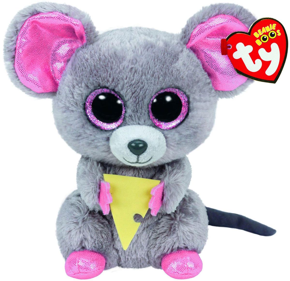 TY Мягкая игрушка Мышонок Squeaker с кусочком сыра 15 см