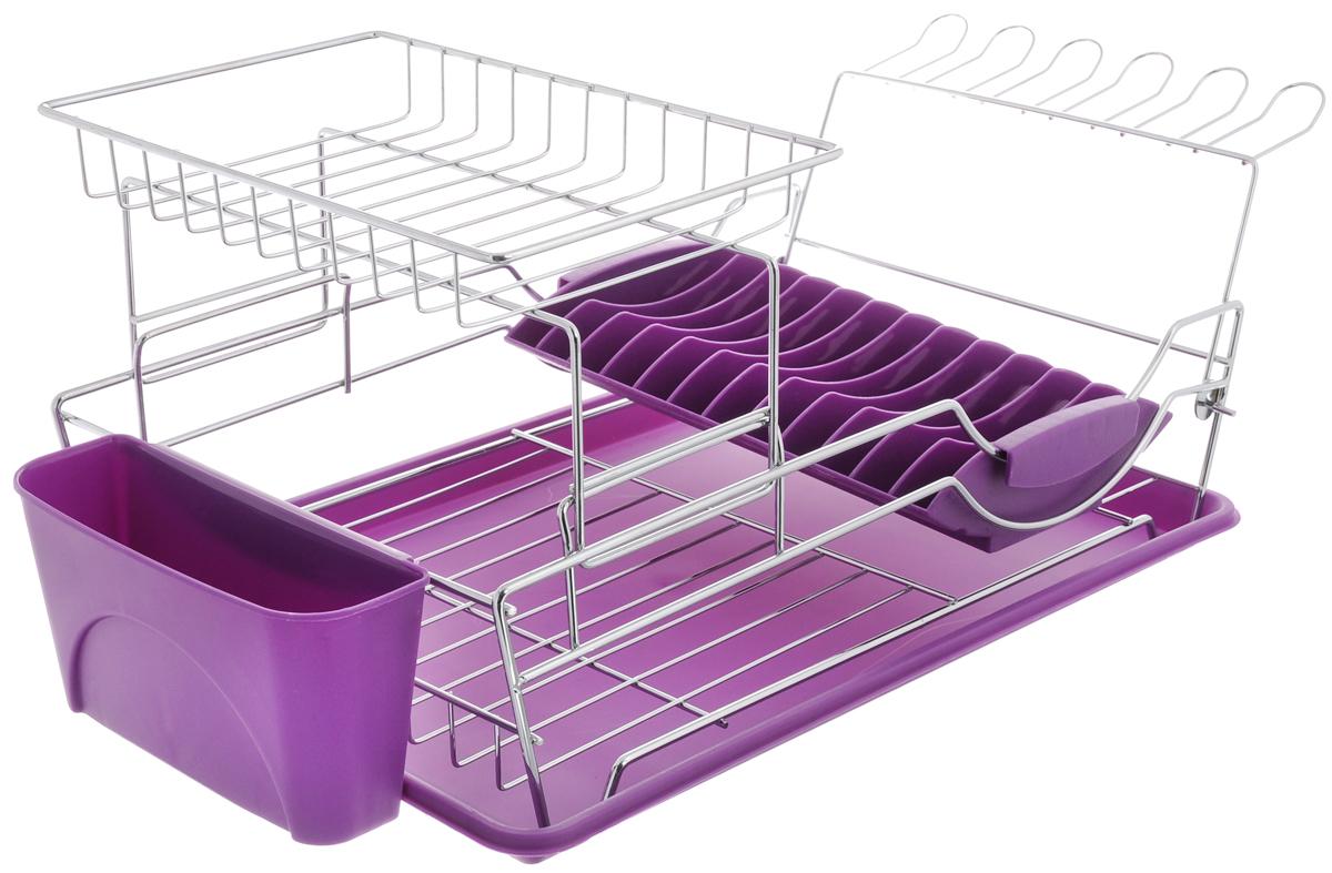 Сушилка для посуды Mayer & Boch, 2-ярусная, с поддоном, цвет: стальной, фиолетовый, 60 х 31 х 24 см24879Двухъярусная сушилка для посуды Mayer & Boch выполнена из высококачественной хромированной стали и пластика. В сушилке предусмотрены отделения для тарелок, чашек и столовых приборов. Благодаря конструкции с вместительным поддоном для сбора воды, вы не будете тратить время на вытирание посуды после мытья. Стальная часть конструкции защищена от коррозии хромированным покрытием, что гарантирует ей продолжительное время эксплуатации и эстетичный внешний вид. Сушилка для посуды Mayer & Boch станет незаменимым помощником на кухне. Компактность сушилки позволит расположить ее по вашему усмотрению - на свободном крыле мойки, на столешнице или в навесных шкафах кухонного гарнитура. Оригинальный и современный внешний вид идеально дополнит интерьер кухонного пространства. Размер сушилки для посуды: 60 х 31 х 24 см.