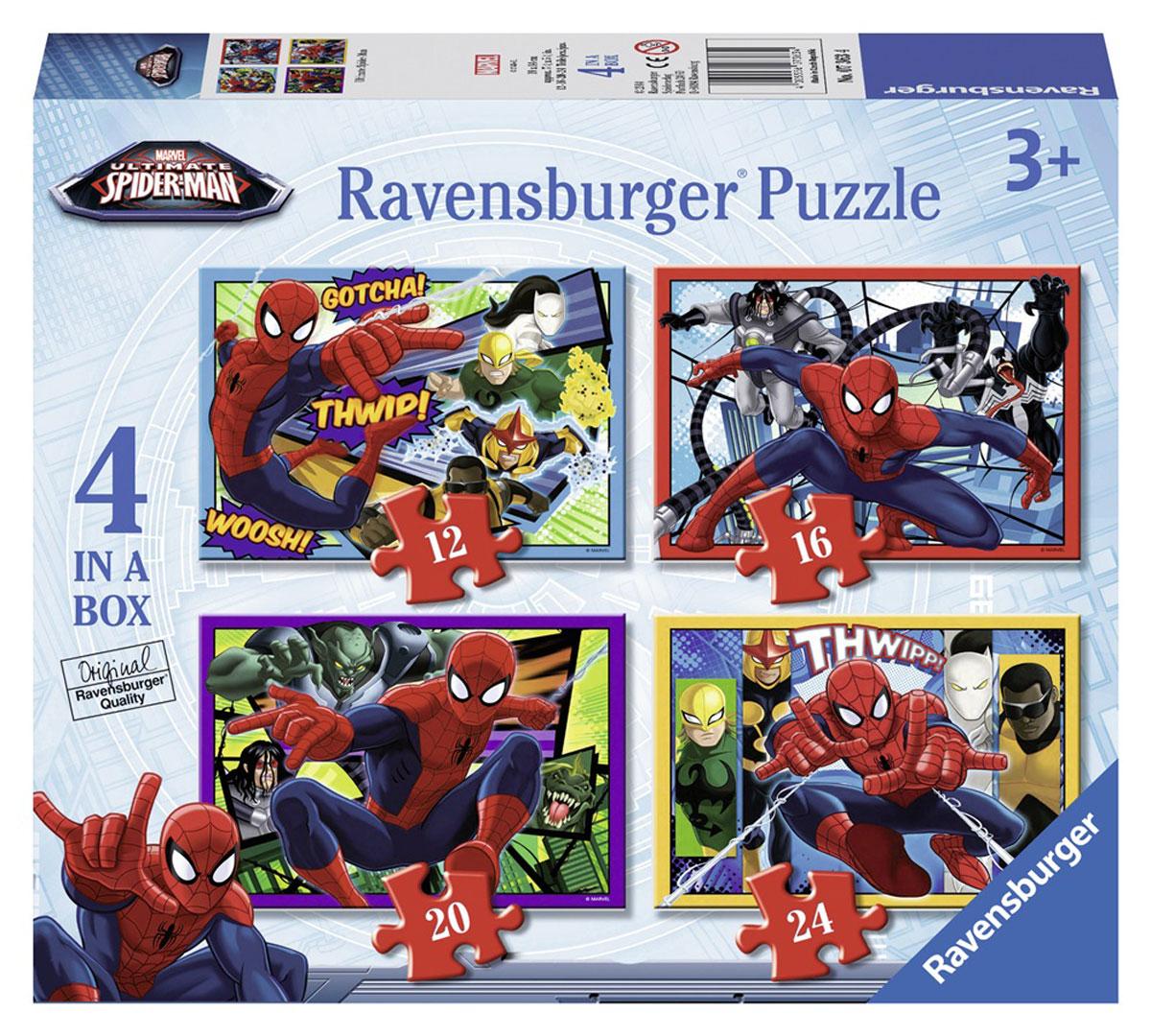 Ravensburger Пазл для малышей Человек-паук 4 в 17363Пазл для малышей Ravensburger Человек-паук прекрасно подходит для первого знакомства малыша с мозаикой, способствует формированию навыка соединения целого изображения из различных элементов. Набор включает в себя 4 пазла. Первый пазл состоит из 12 элементов, второй - из 16 элементов, третий - из 20 элементов и четвертый - из 24 элементов. Собрав все элементы, вы получите 4 картинки с изображением главного героя комиксов Mavel - Человека-паука. Собирание пазла развивает у ребенка мелкую моторику рук, тренирует наблюдательность, логическое мышление, знакомит с окружающим миром, с цветом и разнообразными формами, учит усидчивости и терпению, аккуратности и вниманию.