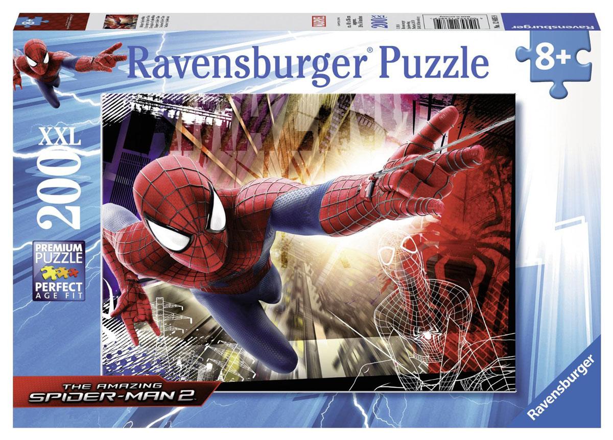 Ravensburger Пазл Человек-паук XXL 1268512685Пазл Ravensburger Человек-Паук XXL придется по душе вам и вашему малышу. Собрав этот пазл, включающий в себя 200 элементов, вы получите великолепную картину с изображением знаменитого супергероя. Каждая деталь имеет свою форму и подходит только на свое место. Нет двух одинаковых деталей! Пазл изготовлен из картона высочайшего качества. Все изображения аккуратно отсканированы и напечатаны на ламинированной бумаге. Пазл - великолепная игра для семейного досуга. Сегодня собирание пазлов стало особенно популярным, главным образом, благодаря своей многообразной тематике, способной удовлетворить самый взыскательный вкус. А для детей это не только интересно, но и полезно. Собирание пазла развивает мелкую моторику у ребенка, тренирует наблюдательность, логическое мышление, знакомит с окружающим миром, с цветом и разнообразными формами.