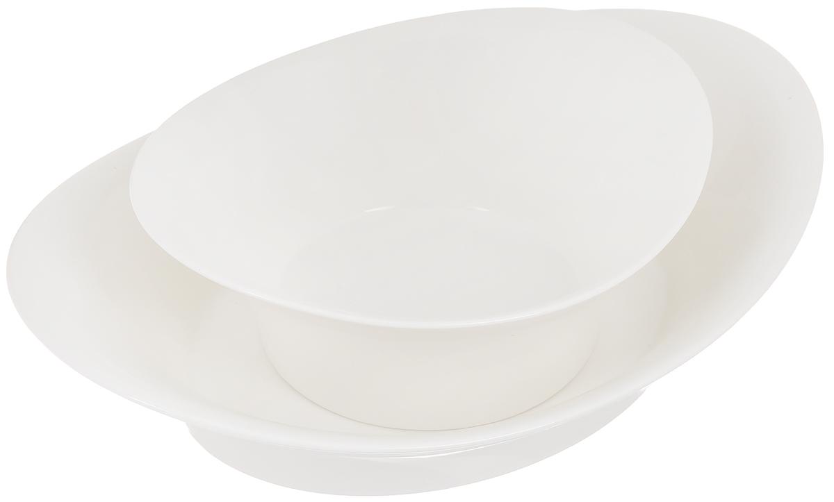 Набор мисок Tescoma Allegro, 2 шт387580Набор Tescoma Allegro состоит из 2 мисок разного размера, выполненных из высококачественного фарфора. Изделия отлично подходят для угощений, которые нужно очистить или развернуть: фисташки, завернутые конфеты, мандарины и многое другое. Верхняя миска используется для сервировки, нижняя миска предназначена для скорлупы, оберток, кожуры. Изделия могут использоваться отдельно для подачи различных блюд. Оригинальный дизайн, высокое качество и функциональность набора Tescoma Allegro позволят ему стать достойным дополнением к вашему кухонному инвентарю. Размер малой миски (по верхнему краю): 17,5 х 15,5 см. Высота малой миски: 7 см. Размер большой миски (по верхнему краю): 26 х 19 см. Высота большой миски: 6,5 см.