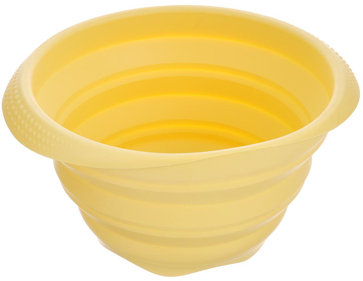 Миска складная Tescoma Fusion, цвет: желтый, диаметр 19 см638412Складная миска Tescoma Fusion, изготовленная из первоклассного жароупорного силикона, станет полезным приобретением для вашей кухни. Изделие отлично складывается, можно быстро разложить и сложить, легко моется. Обладает термостойкостью от -40°C до +230°C. Миска пригодна для всех видов духовок, микроволновой печи, холодильника, морозильника. Можно мыть в посудомоечной машине. Диаметр миски: 19 см. Ширина миски (с учетом ручек): 22,5 см. Высота миски (в разложенном виде): 11 см. Высота миски (в сложенном виде): 3,5 см.