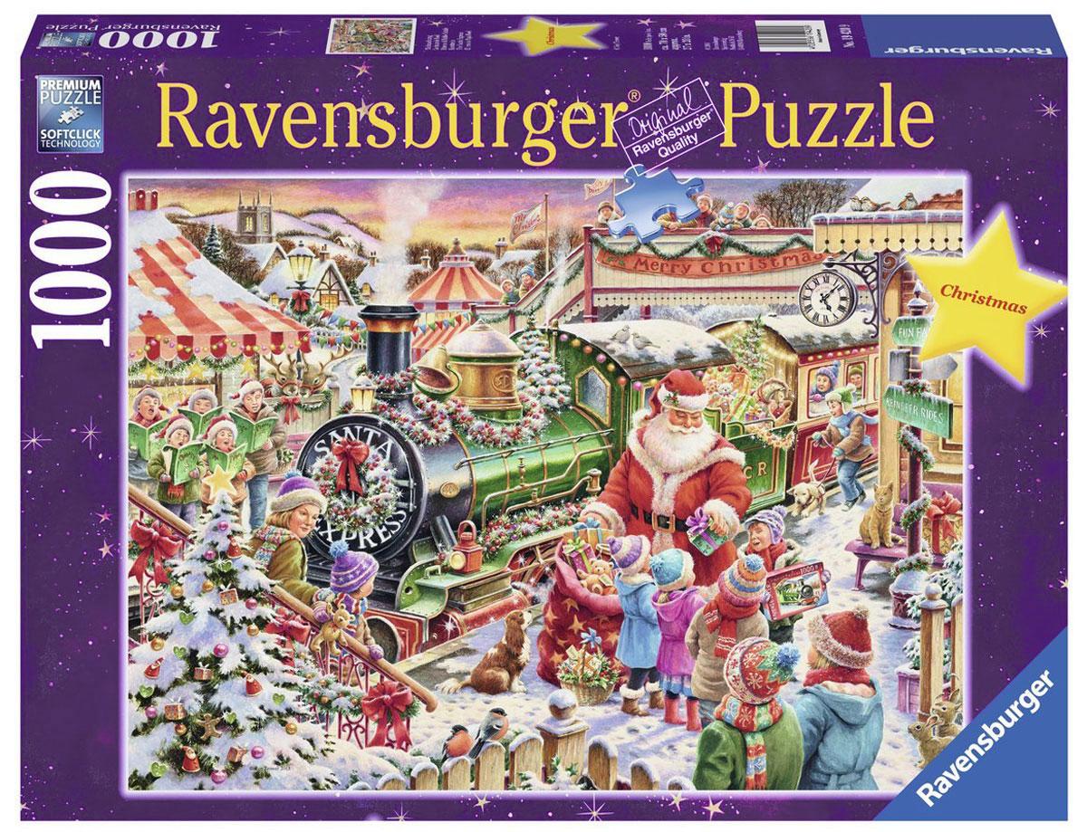Ravensburger Пазл Рождественский экспресс19420Пазл Ravensburger Рождественский экспресс придется по душе вам и вашему малышу. Собрав этот пазл, включающий в себя 1000 элементов, вы получите великолепную картину с изображением Санта-Клауса в окружении ребят и рождественского экспресса. Каждая деталь имеет свою форму и подходит только на свое место. Нет двух одинаковых деталей! Пазл изготовлен из картона высочайшего качества. Все изображения аккуратно отсканированы и напечатаны на ламинированной бумаге. Пазл - великолепная игра для семейного досуга. Сегодня собирание пазлов стало особенно популярным, главным образом, благодаря своей многообразной тематике, способной удовлетворить самый взыскательный вкус. А для детей это не только интересно, но и полезно. Собирание пазла развивает мелкую моторику у ребенка, тренирует наблюдательность, логическое мышление, знакомит с окружающим миром, с цветом и разнообразными формами.