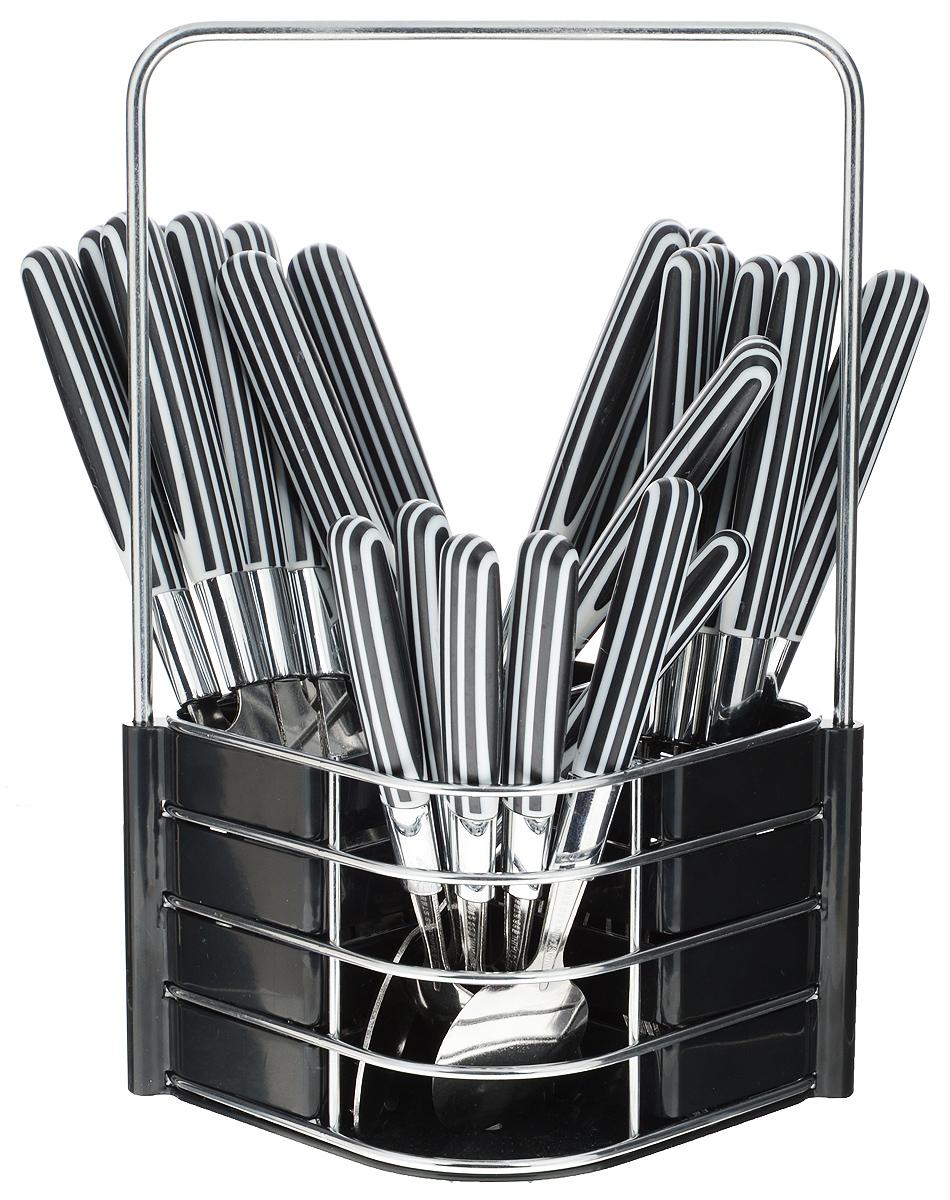 Набор столовых приборов Mayer & Boch, цвет: стальной, черный, белый, 25 предметов23240_черныйНабор Mayer & Boch состоит из 25 предметов: 6 столовых ножей, 6 столовых ложек, 6 вилок, 6 чайных ложек и подставки. Рабочие части приборов выполнены из высококачественной нержавеющей стали и имеют удобные пластиковые ручки. Все предметы набора расположены на подставке, изготовленной из высококачественного пластика и металла. Подставка оснащена секциями для каждого вида приборов и эргономичной ручкой для переноски. Прекрасное сочетание контрастного дизайна и удобство использования изделий придется по душе каждому. Набор столовых приборов Mayer & Boch подойдет для сервировки стола как дома, так и на даче и всегда будет важной частью трапезы, а также станет замечательным подарком. Длина ножа: 22,5 см. Длина лезвия ножа: 10 см. Длина столовой ложки: 20,5 см. Размер рабочей части столовой ложки: 9 х 4 см. Длина вилки: 20,7 см. Размер рабочей части вилки: 9 х 2,5 см. Длина чайной ложки: 16,5 см. Размер...