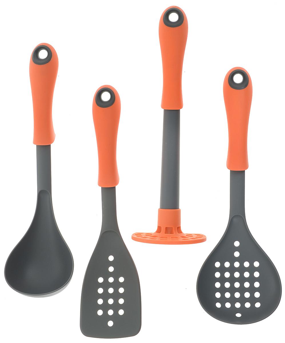 Набор кухонных принадлежностей Mayer & Boch, цвет: оранжевый, серый, 4 предмета21954-3Набор кухонных принадлежностей Mayer & Boch состоит из картофелемялки, половника, лопатки и шумовки. Предметы набора выполнены из пищевого, гипоаллергенного нейлона, безопасного для здоровья. Пищевой нейлон - жаропрочный материал, выдерживающий температуру нагрева до +210°С. Изделия из этого материала идеально подходят для посуды с тефлоновым и керамическим антипригарным покрытиями. В комплектацию вошли самые необходимые приборы, обеспечивающие высокий функционал набора. Округлые формы каждого предмета придают дополнительную обтекаемость изделию. Длина картофелемялки: 30 см. Размер рабочей части картофелемялки: 10 х 7,5 см. Длина половника: 32 см. Размер рабочей части половника: 9 х 9 см. Длина лопатки: 32,5 см. Размер рабочей части лопатки: 8 х 13 см. Длина шумовки: 32,5 см. Размер рабочей части шумовки: 11 х 11 см.