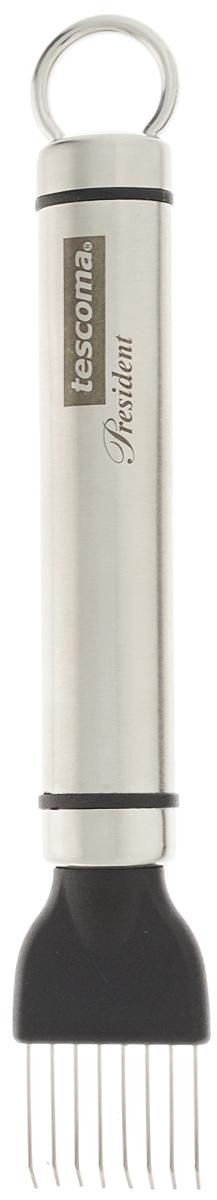 Скребок для удаления семян арбуза и дыни Tescoma President, длина 15 см638620Скребок Tescoma President изготовлен из высококачественной нержавеющей стали и предназначен для легкого удаления семян арбуза и дыни. Легок в использовании. Разрежьте продукт и удалите семена, перемещая скребок от корки по направлению к центру. В комплект входит защитный чехол. Можно мыть в посудомоечной машине. Общая длина скребка: 15 см. Размер рабочей поверхности: 2,5 х 2 см.