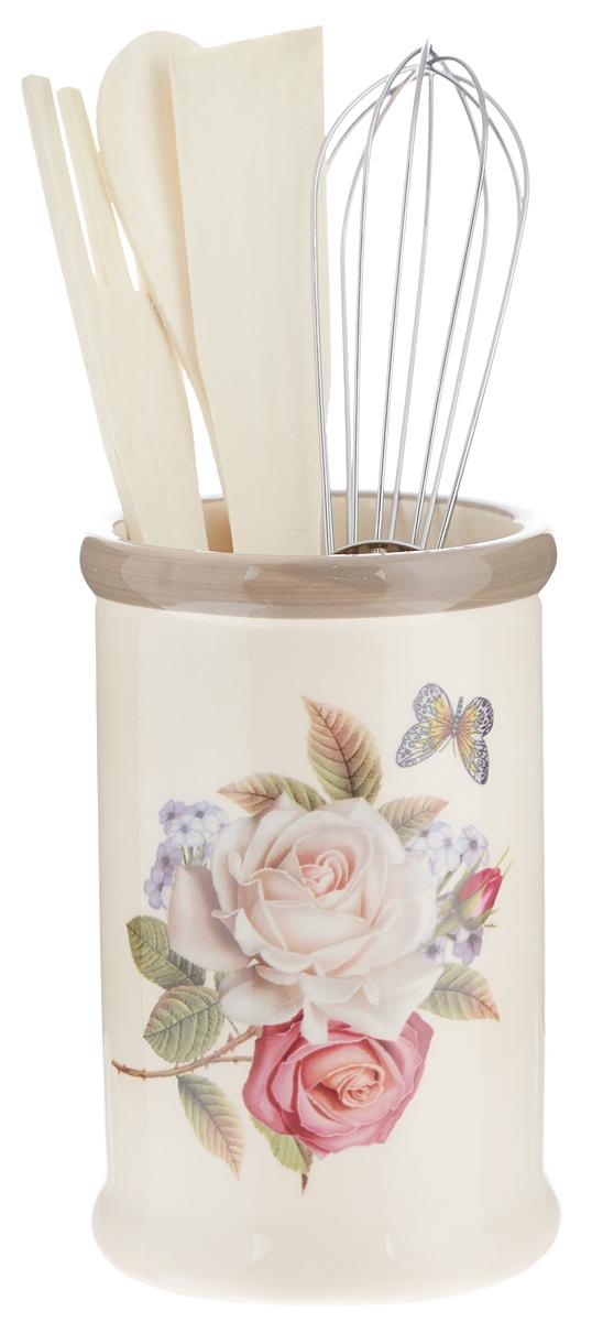 Набор кухонных принадлежностей Loraine Розы, 5 предметов. 2169721697Набор кухонных принадлежностей Loraine Розы состоит из ложки, лопатки, вилки, венчика и подставки. Ложка, вилка и лопатка выполнены из натурального дерева. Венчик выполнен из металла. Подставка изготовлена из доломитовой керамики, в виде вазы, украшенной красочным цветочным изображением. Эксклюзивный дизайн, эстетичность и функциональность набора Loraine позволят ему занять достойное место среди кухонного инвентаря. Длина ложки: 21 см. Размер рабочей поверхности ложки: 4,5 х 3,3 х 0,3 см. Длина вилки: 20,5 см. Размер рабочей поверхности вилки: 4 х 3 х 0,3 см. Длина лопатки: 20,5 см. Размер рабочей поверхности лопатки: 6,5 х 2,5 х 0,3 см. Длина венчика: 21 см. Диаметр подставки (по верхнему краю): 8 см. Высота подставки: 13 см.