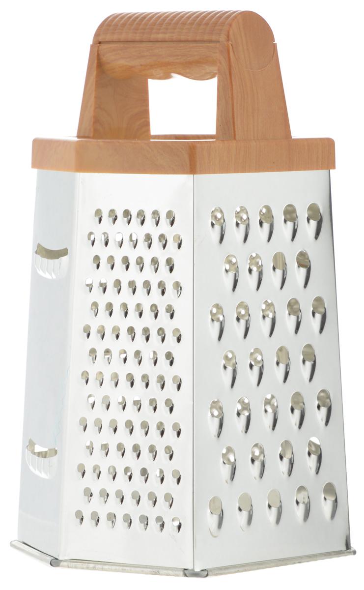 Терка Mayer & Boch, шестигранная. 88618861Терка Mayer & Boch изготовлена из высококачественной нержавеющей стали с зеркальной полировкой. Терка оснащена удобной ручкой, выполненной из ABS пластика под дерево, которая не позволит изделию выскользнуть из рук. На одной терке представлены шесть видов терок - крупная, мелкая, терка для овощных пюре, фигурная, шинковка и шинковка фигурная. Каждая хозяйка оценит все преимущества этой терки. Благодаря этому можно удовлетворить любые потребности по нарезке различных продуктов. Наслаждайтесь приготовлением пищи с многофункциональной теркой Mayer & Boch. Можно мыть в посудомоечной машине.