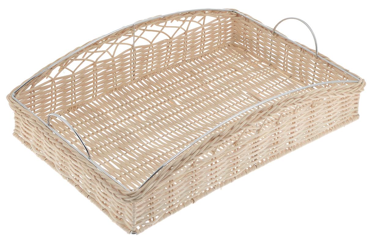 Хлебница Mayer & Boch, 42 х 29 х 10 см20940Хлебница Mayer & Boch прекрасно подойдет для хранения хлебобулочных изделий, а также фруктов. Изделие выполнено из хромированного металла с деревянной плетеной отделкой из ротанга. Красивая плетеная хлебница изысканно украсит интерьер вашей кухни.