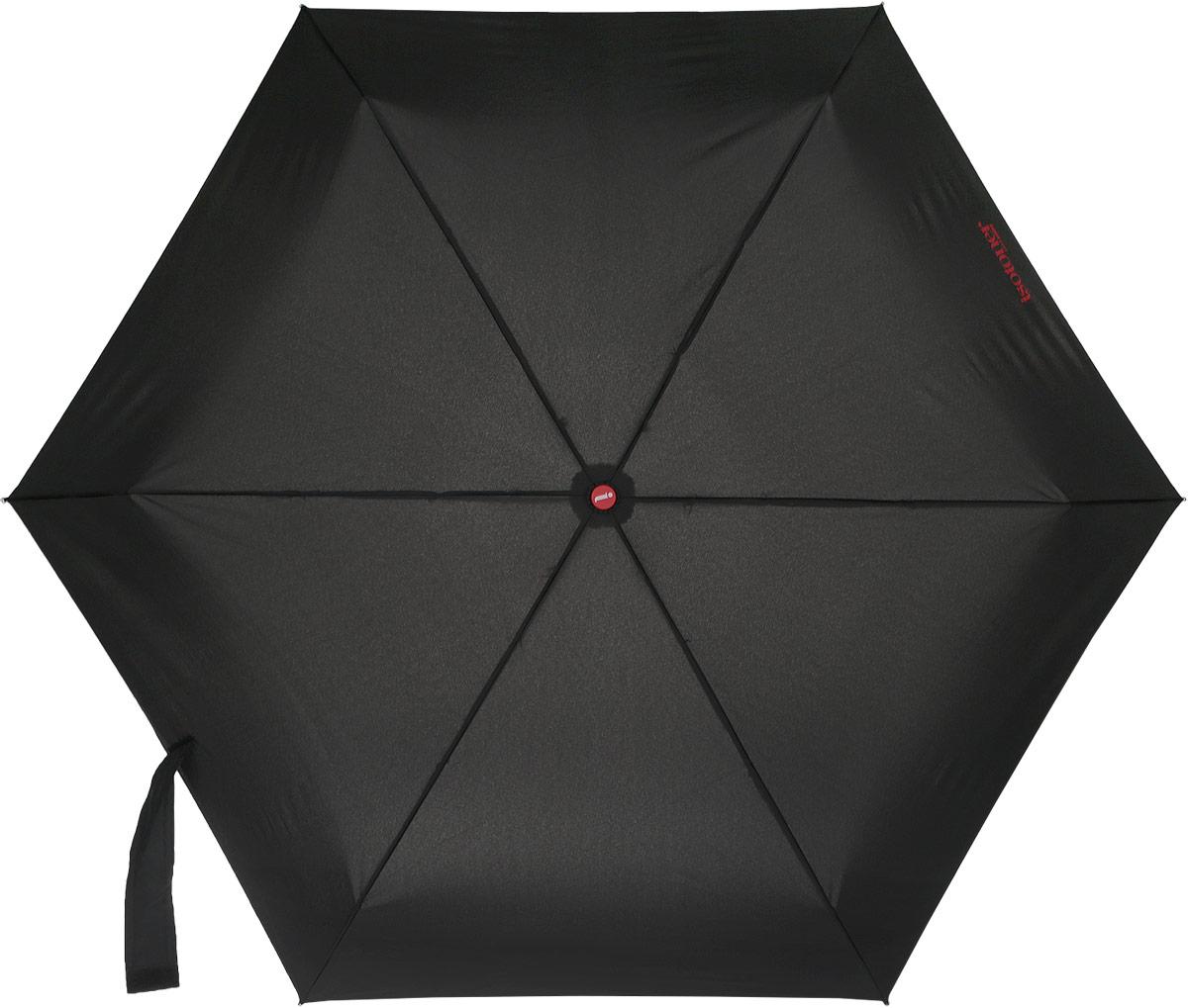 Зонт мужской Isotoner, автомат, 4 сложения, цвет: черный. 09450-702709450-7027_Практичный мужской зонт Isotoner оформлен изображением логотипа бренда. Каркас зонта оснащен технологией повышенной прочности X-tra Solide, содержит шесть спиц из алюминия и стеклопластика, а также дополнен удобной рукояткой. Зонт имеет автоматический механизм в 4 сложения: купол открывается и закрывается нажатием кнопки на рукоятке, стержень складывается вручную до характерного щелчка, благодаря чему открыть и закрыть зонт можно одной рукой, что чрезвычайно удобно при входе в транспорт или помещение. Купол зонта выполнен из прочного полиэстера. Рукоятка дополнена эластичной петлей. Стильный зонт - незаменимая вещь в гардеробе каждого мужчины. Он не только надежно защитит от дождя, но и станет прекрасным дополнением к вашему образу.