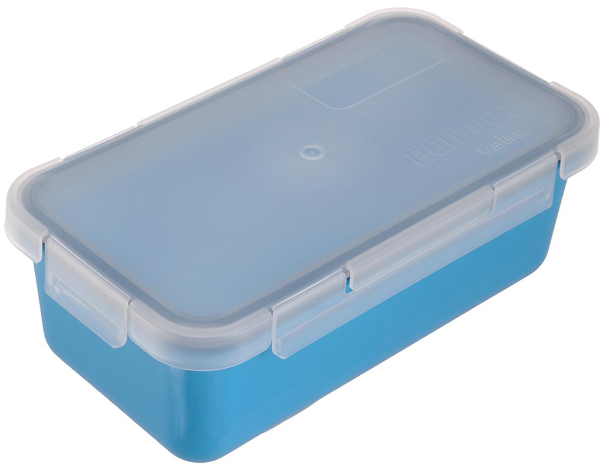 Контейнер пищевой Valira Nomad, цвет: голубой, 750 мл6090/66Пищевой контейнер Valira Nomad - это надежный и удобный пищевой контейнер, выполненный из керамического пластика. Данный материал не содержит полипропилена, BPA и фталатов, что очень важно для здоровья. Контейнер оснащен крышкой с силиконовой прослойкой и защелками с четырех сторон. Полностью герметичен и водонепроницаем, отлично подходит даже для переноски жидких блюд. Не впитывает запахов и не окрашивается в цвет пищи, материал изделия приятен на ощупь. Контейнер подходит для ежедневного использования на работе или учебе, а также для отдыха на природе. Благодаря компактным размерам его удобно взять с собой в поездку или путешествие. Контейнер можно использовать для разогревания пищи в микроволновой печи, а также для замораживания продуктов до -20°С. Легко моется в посудомоечной машине.
