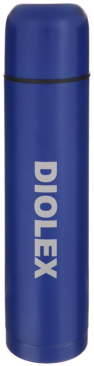 Термос Diolex, цвет: синий, 1 л. 1000-21000-2Термос Diolex изготовлен из высококачественной нержавеющей стали с цветным матовым покрытием. Двойная колба из нержавеющей стали сохраняет напитки горячими до 12 часов, а холодными до 24 часов. Термос оснащен крышкой-чашкой и пробкой с кнопкой, позволяющей, не отвинчивая ее, наливать напитки после простого нажатия на кнопку, что также способствует сохранению температуры внутри. Удобный, компактный и практичный термос обтекаемой формы пригодится в путешествии, походе и поездке. Диаметр горлышка: 5 см. Диаметр основания термоса: 8 см. Высота термоса: 33 см.