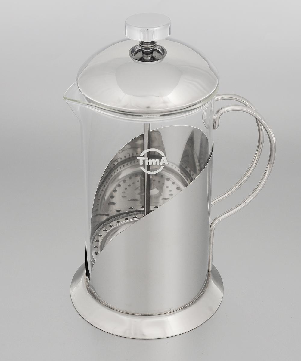 Френч-пресс TimA Тирамису, 350 млFT-350Френч-пресс TimA Тирамису специально предназначен для приготовления кофе или чая методом настаивания и отжима. Преимуществ, которыми обладает френч-пресс перед обычным заварником, немало. Это удобство: засыпав чай под поршень и закрыв конструкцию крышкой, вы можете после заваривания разливать чай без использования дополнительных фильтров и других приспособлений. Кроме того френч-пресс на столе смотрится очень элегантно - все участники чаепития смогут не только насладиться безупречным вкусом напитка, но и наблюдать процесс заваривания, раскрытия вкуса и цвета чая, высвобождения его аромата. Френч-пресс позволяет полностью извлечь полезные вещества из травяных чаев. Можно мыть в посудомоечной машине. Диаметр основания: 9 см. Диаметр (по верхнему краю): 7 см. Высота френч-пресса: 18 см.
