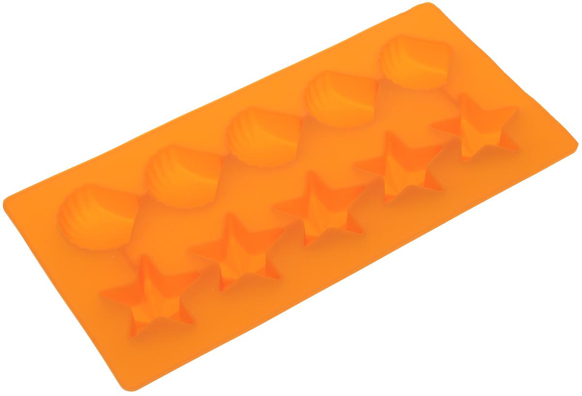 Форма для льда Marmiton Звездочки и ракушки, цвет: оранжевый, 10 ячеек16002_оранжевыйФорма Marmiton Звездочки и ракушки выполнена из силикона и предназначена для приготовления выпечки, мармелада или замораживания льда. На одном листе расположено 10 ячеек в виде звездочек и ракушек. Благодаря тому, что форма изготовлена из силикона, готовый десерт вынимать легко и просто. Материал устойчив к фруктовым кислотам, к воздействию низких и высоких температур. Не взаимодействует с продуктами питания и не впитывает запахи. Силикон абсолютно безвреден для здоровья. Чтобы достать лед, эту форму не нужно держать под теплой водой или использовать нож. Подходит для использования в духовке и микроволновой печи. Можно мыть в посудомоечной машине. Общий размер формы: 21 х 10,5 х 2,5 см. Количество ячеек: 10 шт. Размер ячеек (в виде ракушек): 3,5 х 3,5 х 2 см. Размер ячеек (в виде звездочек): 4 х 3,5 х 2 см.